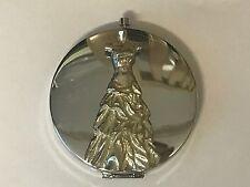 Wedding Dress TG144 Fine Pewter on Round Shape Compact Mirror