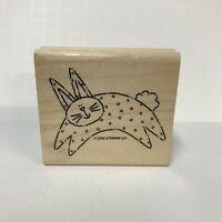 Stampin Up Wood-Mounted Rubber Stamp 2000 Polka Dot Easter Bunny Rabbit Hare 3""