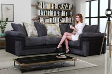 New Lisbon Scatter Back Corner Sofa Right Hand Chunky Cord in Black and Grey