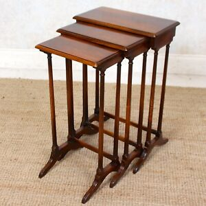 Antique Nest of Tables Mahogany 3 Side Tables Tall