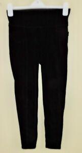 ATHLETA CORD METRO HIGH WAISTED Sz SP Small Petite Black Cozy Leggings EXC