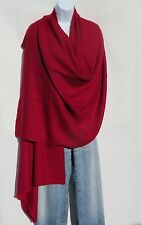 100% Cashmere|Shawl/Wrap|Hand Loomed|Nepal|4 Ply|Wide Herringbone|Ruby Red