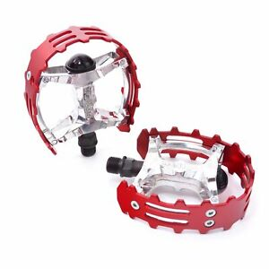 """Wellgo Old school BMX XC-II  bear trap pedals 9/16"""" FOR 3 PIECE CRANKS Red Cage"""