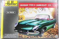 HELLER 1:24 Jaguar Type E Cabriolet, Automodell, Bausatz, 86 Teile