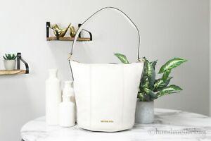 Michael Kors Brooke Medium Pebbled Leather Light Cream Bucket Messenger Handbag