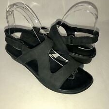 Arche LN Women's 38 Black Nubuck Leather Cross Strap Slingback Sandals