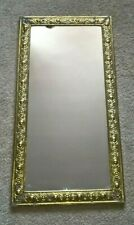 Old Mirror Oblong Brass on Wood Embossed Ornate Detail Border Wall Hanging