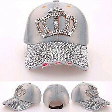 7073bfa3b71 Fashion Women Denim Jean Rhinestone Sparkle Stud Bling Crown Baseball Cap  Hat F