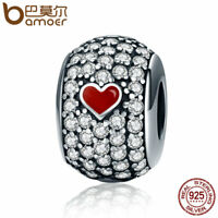 Bamoer European .925 Silver Red Love Charm With clear cz Fit Bracelets Jewelry