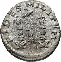 Valerian II 256AD Silver Ancient Roman Coin Rare Legionary eagle Standard i46753