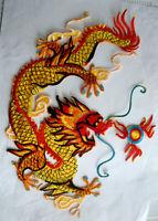 XXL Aufnäher Drache Back Patch Golden Dragon  Rückenaufnäher