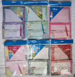 Disney's Stationary Set Note Paper Envelopes Fairies Alice Dopey Princess Cars