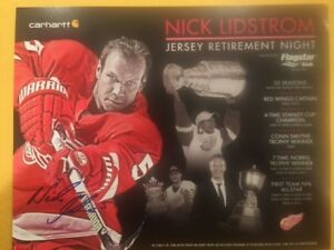 Autographed NICK LIDSTROM JERSEY RETIREMENT RED WINGS 11 X 14 POSTER JSA