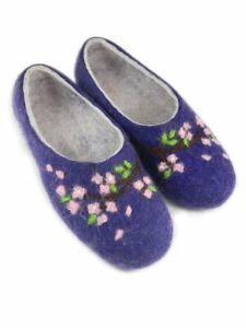 Russian Flower Slippers Felt 100% Handmade Valenki Woole Brand