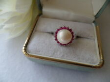 VINTAGE PEARL JEWELLERY STERLING SILVER RING WITH RUBIES ANTIQUE JEWELRY