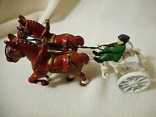 Vintage Cast Iron Horses & Buggy/Sulky with Driver-Cast Iron Cart with Driver