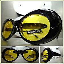 CLASSIC VINTAGE 50s RETRO Style SUN GLASSES Small Oval Fashion Frame Yellow Lens