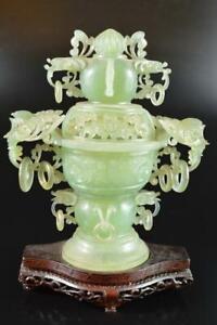 L975: XF Japanese Stone jade/jewels Bird sculpture INCENSE BURNER w/tray