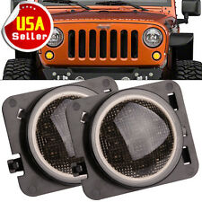 2X Smoked LED Turn Signal Fender Parking Side Marker LED Light For Jeep Wrangler