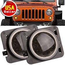 2X Smoked LED Turn Signal Fender Parking Side Marker LED Light For Jeep Wrangler