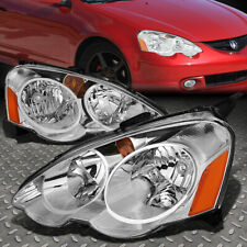 FOR 02-04 ACURA RSX CHROME HOUSING AMBER CORNER HEADLIGHT REPLACEMENT HEAD LAMPS