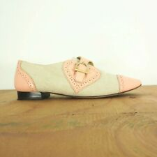 36 / 5.5 US - Charlotte Olympia Pale PInk & Canvas Oxford Loafers Shoes 1118SM