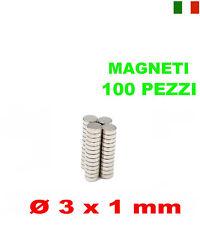 100 MAGNETI NEODIMIO 3x1 mm CALAMITA POTENTE FIMO CERAMICA MAGNETE CALAMITE