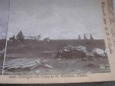 Twilight In Camp at St Michaels Alaska during the Gold Rush c 1898 Stereo Card
