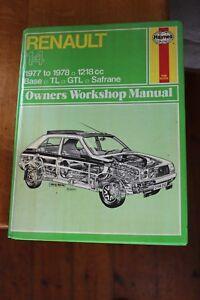 Renault 14 1977 to 1978 1218cc Haynes workshop Manual 362 Base,TL GTL Safrane
