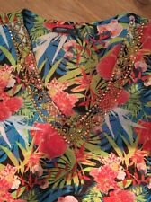manguun Damen Blusen Pailette V-Ausschnitt mehrfarbig gemustert Gr. 44