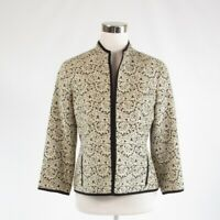 Ivory black textured DONCASTER open front 3/4 sleeve blazer jacket 4