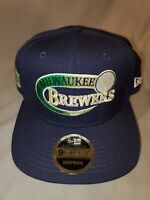 NEW ERA 9 FIFTY HIGH CROWN MLB MILWAUKEE BREWERS SWOOP SNAPBACK HAT NAVY BLUE