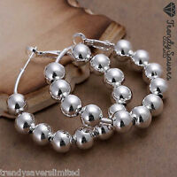 Trendy Women's 925 Sterling Silver Filled Ball Bead Hoop Earrings #26