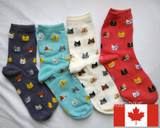 4 pairs of cute cat head socks - Size 6-8 - Pink red blue cream cats animals