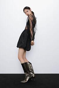 ZARA TULLE AND TAFFETA DRESS Black - 8779/467 ORGANZA PUFF SLEEVES MESH DRESS