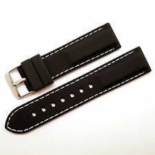 20mm Black/White Soft Silicone Rubber Sports Watch Strap Band Stainless Buckle