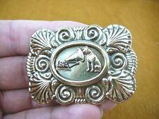 (B-dog-101) Nipper dog love terrier phonograph scallop square brass pin pendant