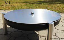 Deckel aus Edelstahl für Feuerschalen, Durchmesser Ø 80 cm, Würfelgriff Exklusiv