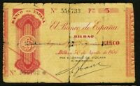 1936 Bilbao 5 Pesetas Spain (Banco De Espana) SN# 556733