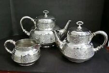 Silverplate Embossed Swallows and Flowers Coffee Tea Set by Meriden Antique