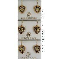 Damascene Gold 17mm Heart Flower Drop Earrings by Midas of Toledo Spain 8115Flow