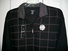 NWT Haggar XLT Easy Care Half Zip Long Sleeve Work to Weekend Shirt $68 Black