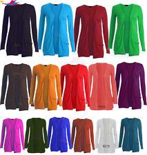 Womens Ladies Long Sleeve BOYFRIEND CARDIGAN With Pockets Plus lot Sizes 8-26