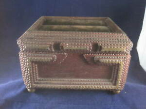 1900 Antique VICTORIAN Type TRAMP ART Carved Cigar DRESSER Sewing BOX velvet