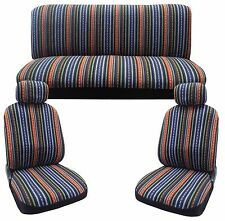 Baja Blue Stripes Saddle Blanket Front Pair Bench Seat Covers CS5