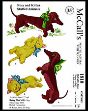 1810 Betsy McCall's DOG NOSY CAT KITTEN Toy Stuffed Animal Fabric Sewing Pattern