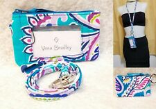 Vera Bradley Zip ID Case and Lanyard Waikiki Paisley Badge Holder Work School