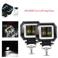 2PCS 6500K 20W PC LED Angel Eyes Light Bar Offroad Car LED Work Light Spot Beam
