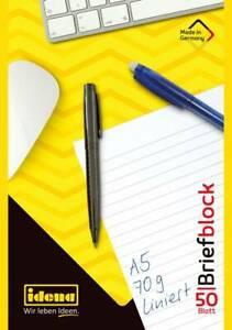 Idena Briefblock, DIN A5, 50 Blatt, 70 g, liniert, kopfgeleimt 10696 Büro