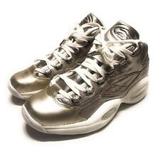 Reebok Mens Question Mid Celebrate Hall of Fame Shoe Metallic Silver Gold Size 7